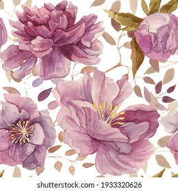 Floral hand drawn seamless watercolor pattern