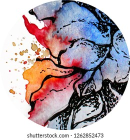 Floral hand painted design,watercolor and graphic, blue and red