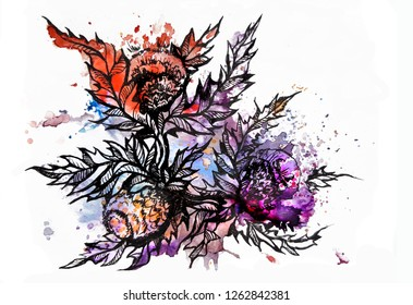 Floral hand painted illustration, colorful, watercolor and graphic