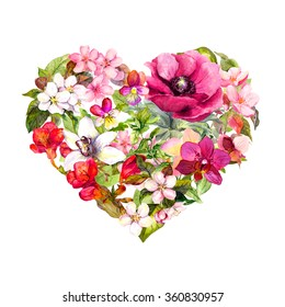 Floral heart with flowers, herbs and leaves. Watercolor
