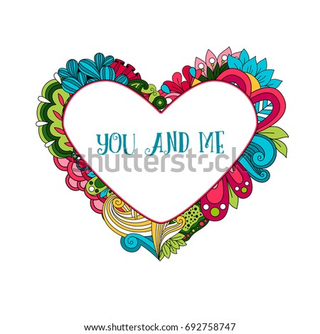 Floral Heart Frame Quote You Me Stock Illustration 692758747 ...