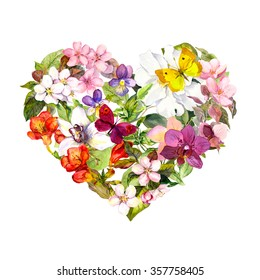 Floral heart with meadow flowers, summer butterflies and leaves. Watercolor for fashion design