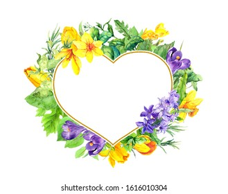 Floral heart shape - spring flowers, crocus, tulips, narciccus, hyacinth. Watercolor wreath frame for Valentine day