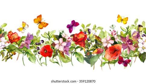 Floral horizontal border. Watercolor meadow flowers, grass, herbs, butterflies. Seamless frame