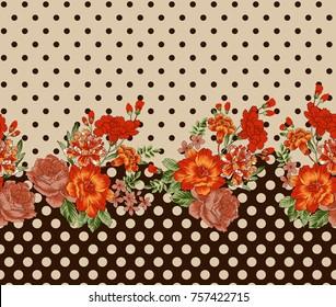 Floral horizontal seamless border