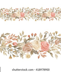 Floral horizontal seamless border. Watercolor flowers horizontal pattern. Seamless watercolor background with floral elements, roses, branches, grass, herbs, leaves, foliage. Hand painted floral edge.