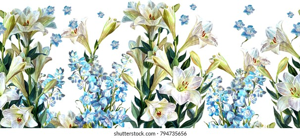 Floral horizontal seamless border.Flowers of dolphinium and white lilies on a white background.Botanical illustration.Watercolor painting.