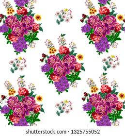floral illustration - bouquet with bright pink vivid flowers, green leaves, for wedding stationary, greetings, wallpapers, fashion, backgrounds, textures, DIY, wrappers, cards.