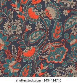 Floral illustration in damask style.Seamless vintage background