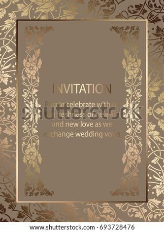 Floral Invitation Card Background Antique Luxury Stock Illustration