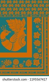 Floral Kalamkari border design with bird motif and stripes