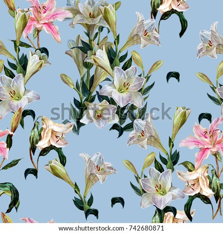 Floral L Seamless Pattern Flowers Royal Lilies Stock Illustration