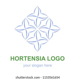 Floral linear icon. Blue hortensia flower logo template. Logotype concept for a spa, beauty salon, or fashion boutique. Raster design element isolated on white background.
