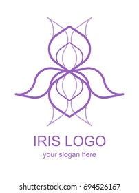Floral linear icon. Iris flower lineart logo. Thin line logotype for a spa, wellness center, massage or beauty salon. Raster design element in monoline style isolated on white background.