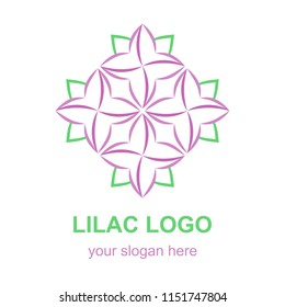Floral linear icon. Violet lilac flower logo template. Logotype concept for a spa, beauty salon, or fashion boutique. Raster design element isolated on white background.