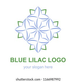 Floral lineart icon. Blue lilac flower logo template. Logotype concept for a spa, beauty salon, or fashion boutique. Raster design element isolated on white background.