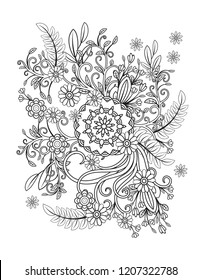 Floral mandala pattern in black and white. Adult coloring book page with flowers and mandalas. Oriental pattern, vintage decorative elements. . Hand drawn illustration
