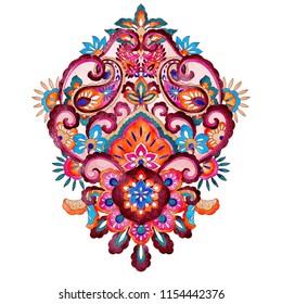 Floral mandala pattern, vintage colorful ethnic design element