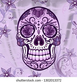Floral Mexican Sugar Skull Day Of The Dead Halloween Lilac