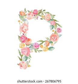 Floral Monogram Letter P.
