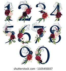 Floral Number Set - digits 1, 2, 3, 4, 5, 6, 7, 8, 9, 0 with flowers bouquet composition, delicate navy geometric shape crystal. Unique collection for wedding invites decoration & other concept ideas.