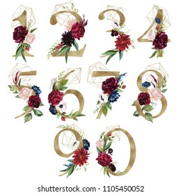 Floral Number Set - digits 1, 2, 3, 4, 5, 6, 7, 8, 9, 0 with flowers bouquet composition, delicate gold geometric shape crystal. Unique collection for wedding invites decoration & other concept ideas.