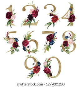 Floral Number Set - digits 1, 2, 3, 4, 5, 6, 7, 8, 9, 0 with flowers bouquet composition and delicate gold texture. Unique collection for wedding invites decoration & other concept ideas.