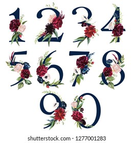 Floral Number Set - navy digits 1, 2, 3, 4, 5, 6, 7, 8, 9, 0 with flowers bouquet composition. Unique collection for wedding invites decoration & other concept ideas.