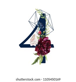 Floral Numbers - digit 4 with flowers bouquet composition and delicate navy geometric shape crystal. Unique collection for wedding invites decoration and many other concept ideas.