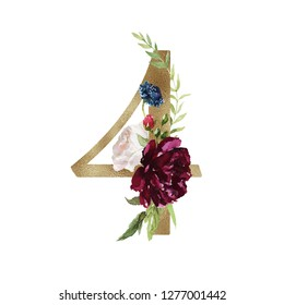 Floral Numbers - digit 4 with flowers bouquet composition and delicate gold texture. Unique collection for wedding invites decoration and many other concept ideas.