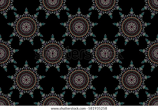 Floral ornament in beige and purple colors on a black background. Seamless background. Colored patterns antique.