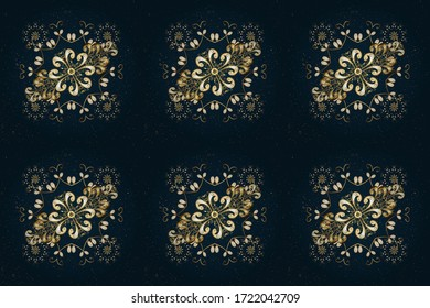 Floral ornament brocade textile pattern, glass, metal with floral pattern on beige and blue colors with golden elements. Classic raster golden pattern.