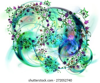 Floral ornament with leaves flowers and berries and fractal background