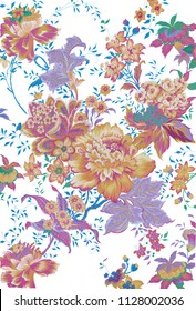 Floral paisley pattern trendy colour . Colorful   Gouache painting leaves and flowers tribal asian style ornament amazing graphic backdrop.