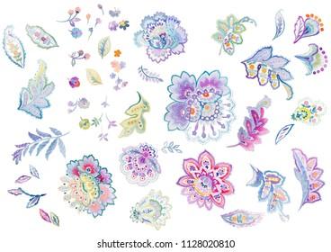 Floral paisley pattern trendy colour watercolour background ,watercolor paisley
