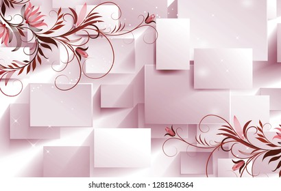 Floral pattern with 3d Square pattern on decorative background 3D wallpaper