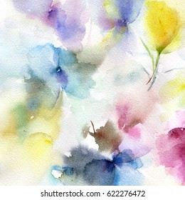 Floral pattern. Abstract flowers. Watercolor floral background. Greeting card. Wedding invitation.