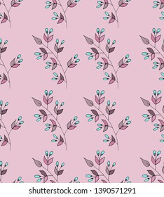 Floral pattern in abstract style on  background. Romantic floral design. Modern summer spring print design. Seamless vintage background.