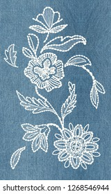 floral pattern background. embroidery. stitch flower. one color