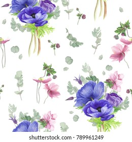 Floral pattern with blue, violet and pink anemones, clematis and eucalyptus, watercolor painting
