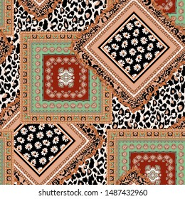 floral pattern and ethnic pattern with square scarf patterns, gold baroque and chain on leopard background backdrop seamless