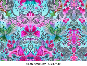 Floral pattern with green birds. Vintage luxury design. Perfect for fabric, cards, books, magazines etc
