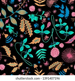 Floral pattern with green foliage and flower background. Seamless pattern for beauty and bath natural products. Botanical folklore hand-painted gouache illustration for creation of textile design.