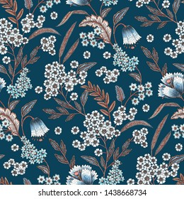 Floral pattern on blue background. Color pencil graphics. Seamless texture. Elegant template for fashion prints. Printing with in hand drawn style