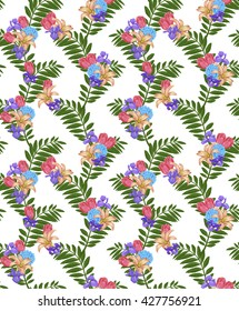 floral pattern on white background digital drawing