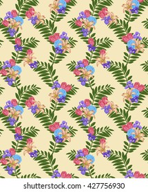 floral pattern on yellow background digital drawing