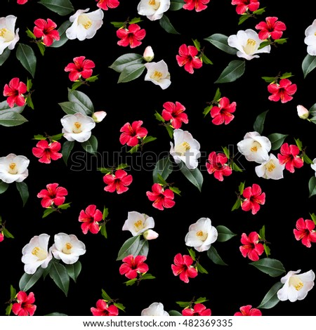 Royalty Free Stock Illustration Of Floral Pattern Red Flowers White