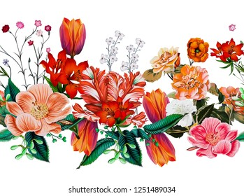 A floral pattern in repeat for digital print. color full floral border for textile print.