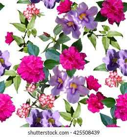 Floral pattern seamless. Digital painting colorful flowers hibiscus, rhododendron and primrose.