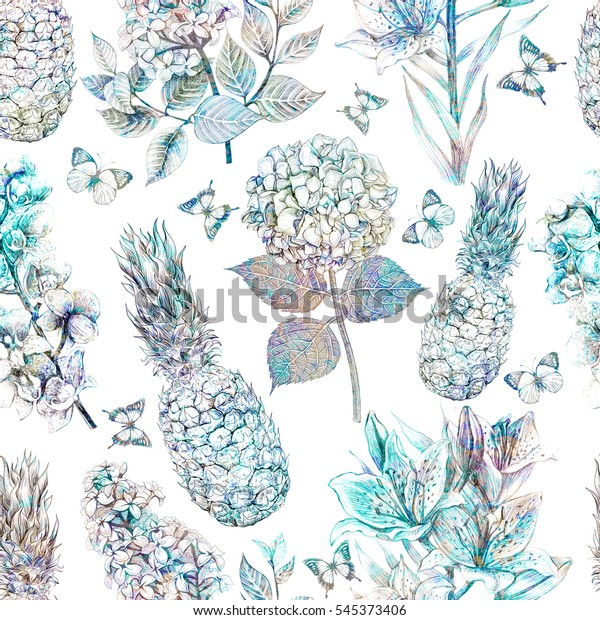 Floral pattern seamless. Vintage tropical flowers with butterflies and pineapple, orchid, lilac, lily background in retro botanical sketch style